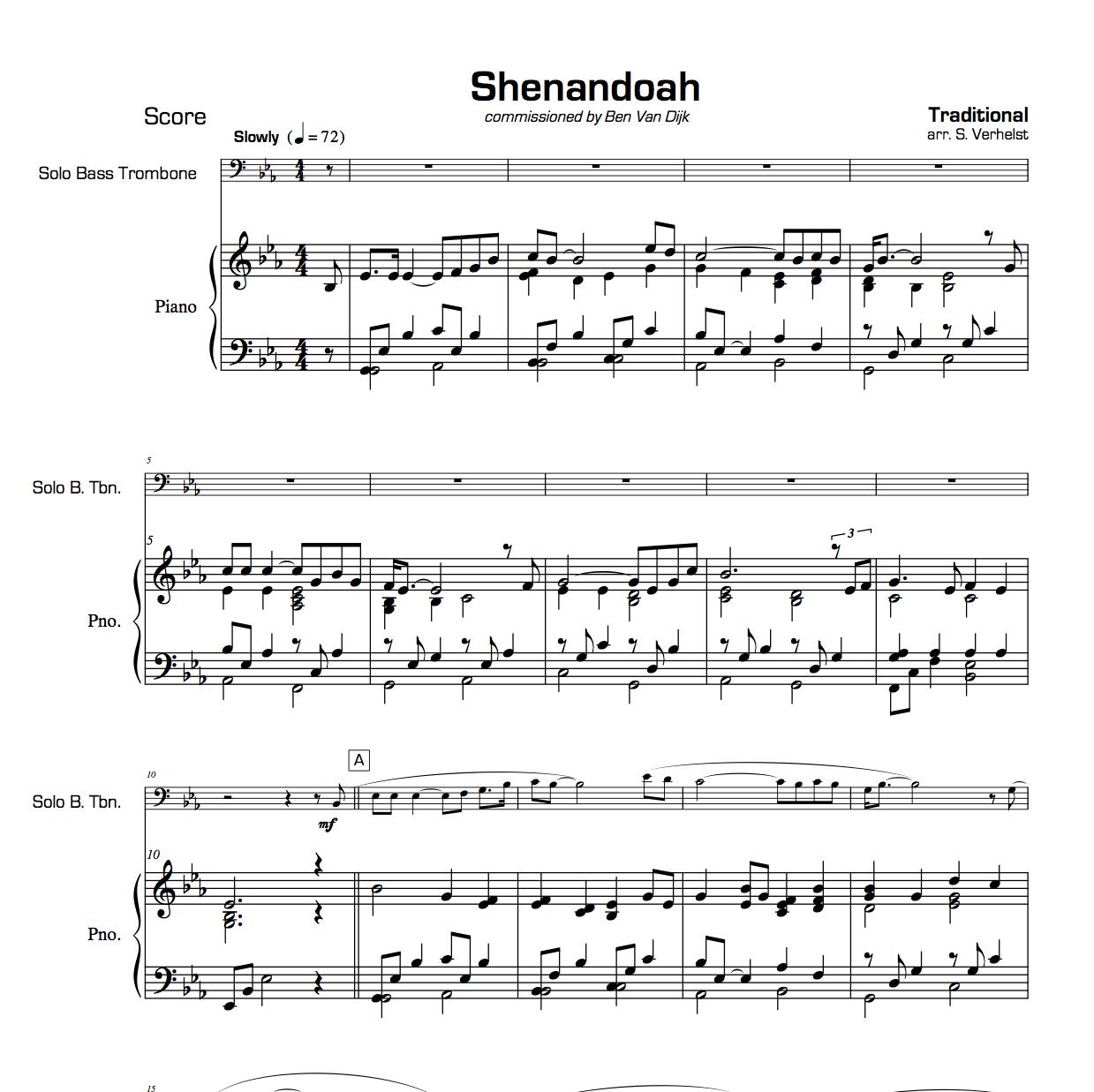 Piano Sheet Music For Shenandoah: (Bass)Trombone & Piano